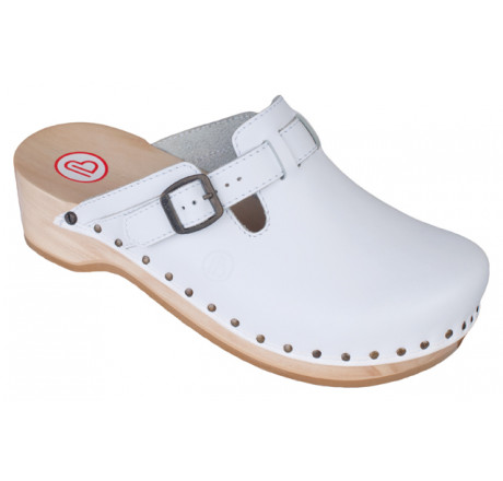 0402-100 BERKEMANN Riemen-Toeffler Holz Sandale weiß Größe 2,5 - 12