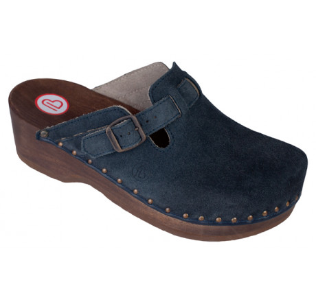 0402-396 BERKEMANN Riemen-Toeffler Holz Sandale blau Größe 2,5 - 12