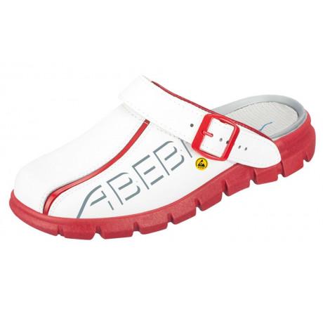 37313 ABEBA ESD Clog Berufsschuhe ohne Schutzkappe weiß/rot Leder Größe 35 - 48