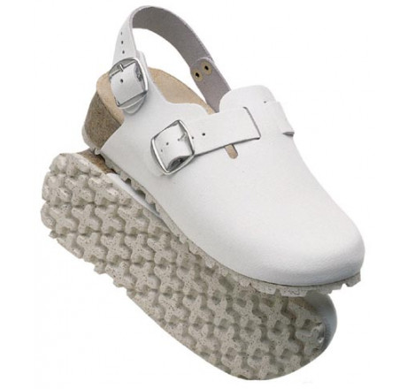 48327-2 WEEGER Clog Arbeitsschuhe ohne Stahlkappe weiß Leder Größe 35 - 46