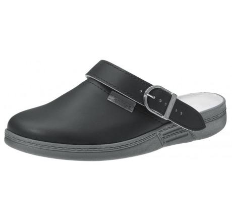 7031 ABEBA Clog Berufsschuhe ohne Stahlkappe schwarz Leder 01 Größe 35 - 47