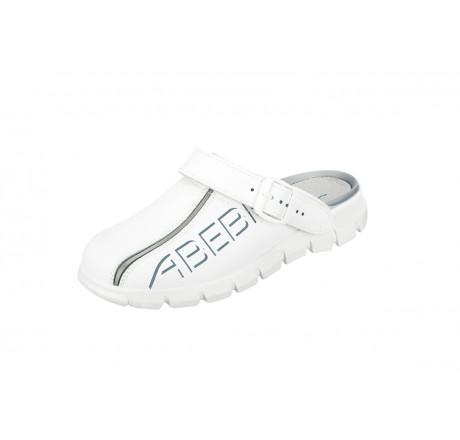 7310 ABEBA-Clog ohne Stahlkappe weiß, Leder, Größe 35 - 48