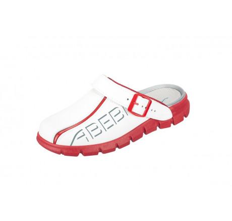 "7313 ABEBA-Clog ""Dynamic"" ohne Stahlkappe weiß-rot, Leder, Größe 35 - 48"
