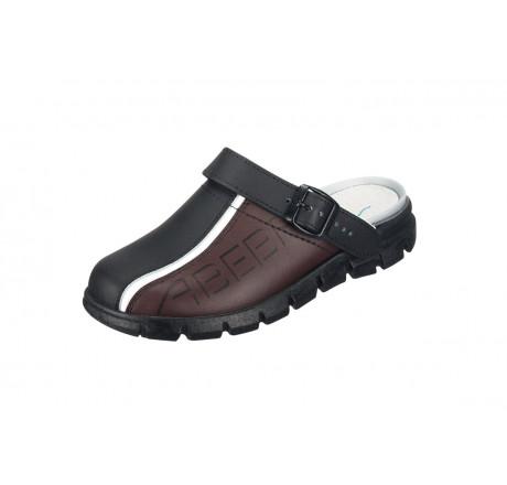 "7315 ABEBA-Clog ""Dynamic"" ohne Stahlkappe schwarz/braun Leder, Größe 35 - 48"