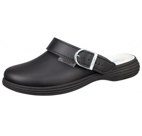 7531 ABEBA Clog Berufsschuhe ohne Stahlkappe schwarz Leder 01 Größe 35 - 42