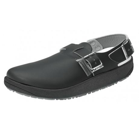 9110 ABEBA Sandale Clog Berufsschuhe ohne Stahlkappe schwarz Leder Größe 36 - 47