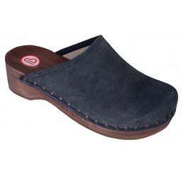 0404-396 BERKEMANN Velours-Toeffler Holz Clogs blau Größe 2,5 - 12