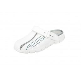 7310 ABEBA Clog Berufsschuhe ohne Schutzkappe weiß Leder Größe 35 - 48