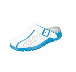 7312 ABEBA Clog Dynamic Berufsschuhe ohne Schutzkappe weiß-blau Leder Größe 35 - 48