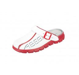 "7313 ABEBA-Clog ""Dynamic"" ohne Schutzkappe weiß-rot, Leder, Größe  35 - 48"
