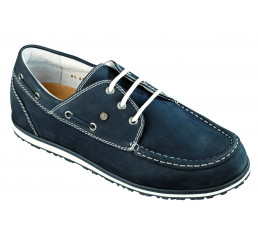 8803 Jacoform Bootsschuhe, Jacomarine, Leder, blau-Nubuk, Größe 6 - 11,5