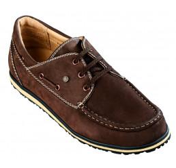 8803 Jacoform Bootsschuhe, Jacomarine, Leder, braun-Nubuk, Größe 6 - 11,5