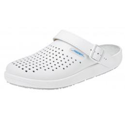 9300 ABEBA-Clogs ohne Schutzkappe weiß, perforiert, Leder, Größe  36 - 47