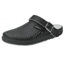 9310 ABEBA-Clogs ohne Schutzkappe schwarz perforiert Leder