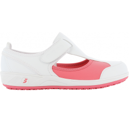 Camille fux (Candy) Arbeitsschuhe Berufsschuhe Pflege Praxis ohne Schutzkappe weiß pink Größe 36 - 42